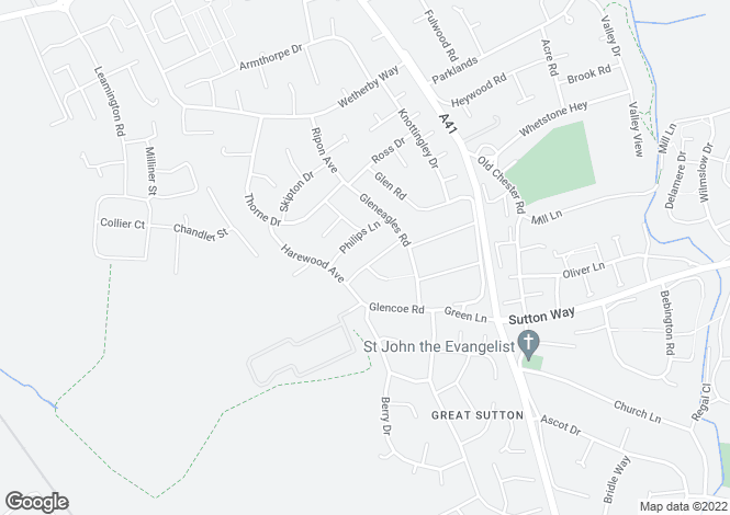 Map for Glendyke Road, Great Sutton