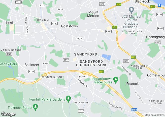 Map for Sandyford, Dublin