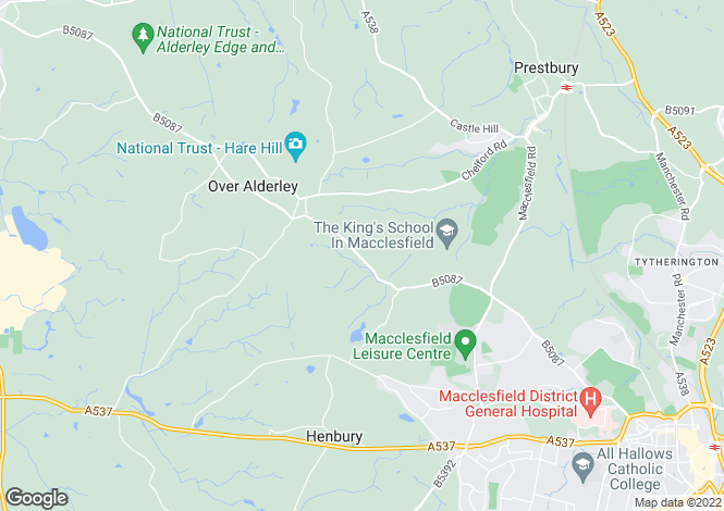 Map for Alderley Road, OVER ALDERLEY