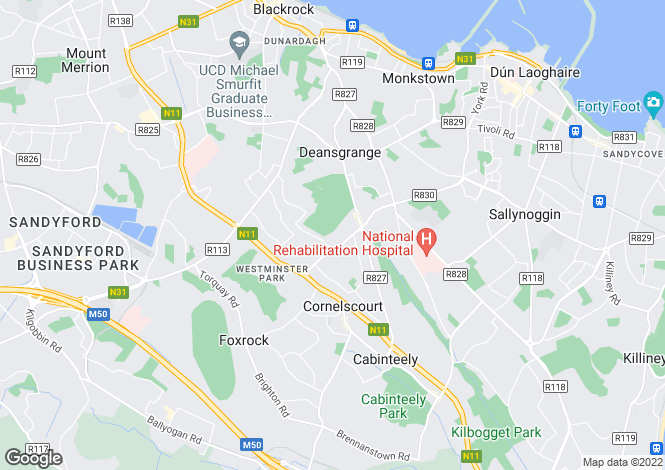Map for 38 Foxrock Avenue, Foxrock, Dublin 18