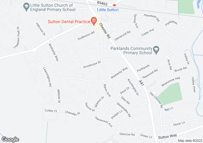 Map for Horbury Gardens, Little Sutton, Ellesmere Port