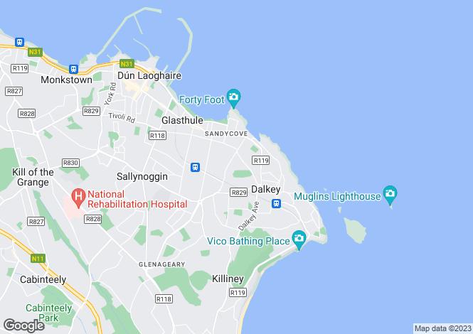 Map for 25 Hyde Park, Dalkey, Co Dublin, A96 E0W5
