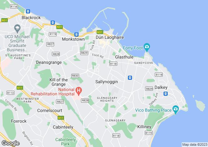 Map for 16 Beechwood Park, Dun Laoghaire, Co Dublin, A96 RX59