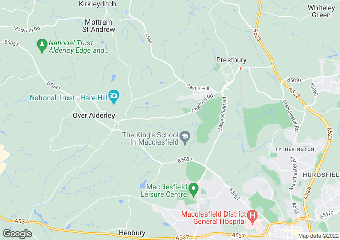 Map for Chelford Road, Prestbury
