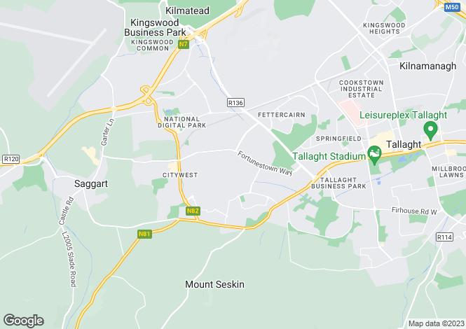 Map for 1 Sundale Walk, Tallaght, Dublin 24