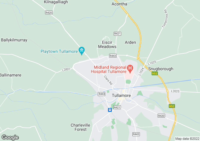 Map for Clara Road, Tullamore, Offaly