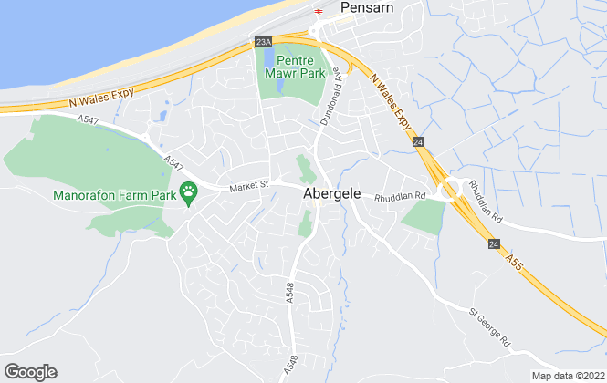 Map for Peter Large Estate Agents, Abergele