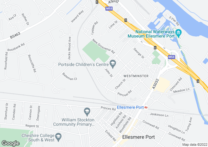 Map for John Street, Ellesmere Port, CH65 2ED
