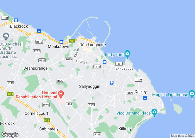 Map for 6 The Glen, Lower Glenageary Road, Dun Laoghaire, Co Dublin, A96 P2D2