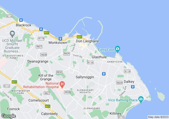 Map for 2 Royal Terrace East, Dun Laoghaire, County Dublin
