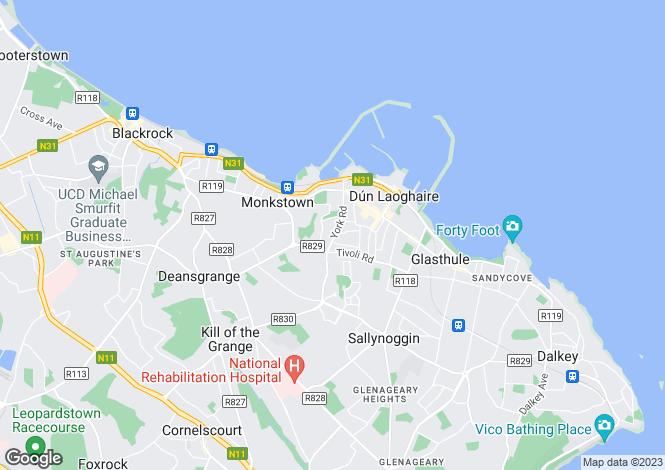 Map for Dublin, Monkstown