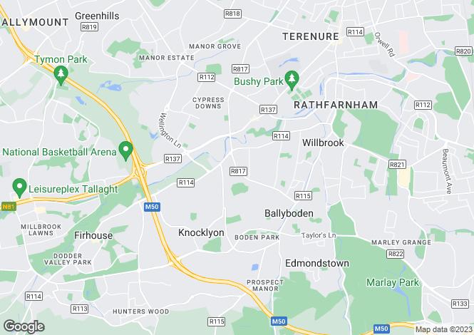 Map for 47 Ballyroan Road, Templeogue, Dublin 16, D16 N2K2