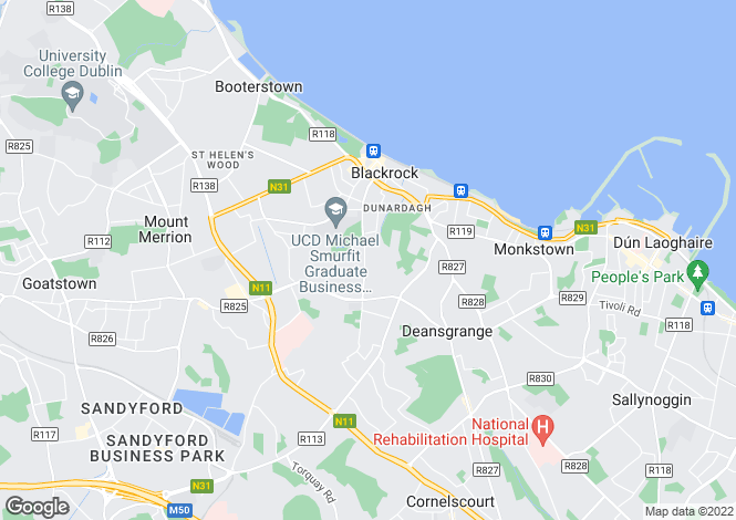 Map for 4 Bedroom Houses, Proby Place, Proby Square, Carysfort Avenue, Blackrock