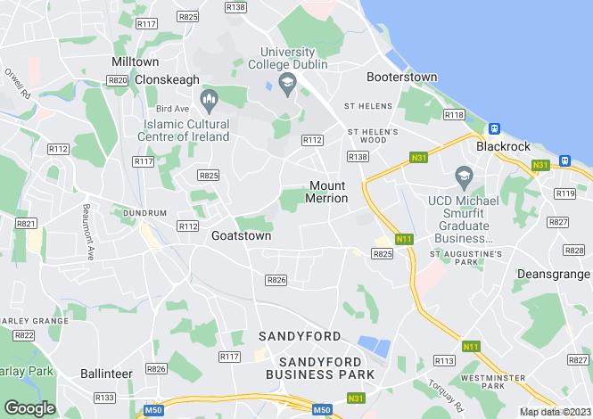 Map for Mount Merrion, Dublin