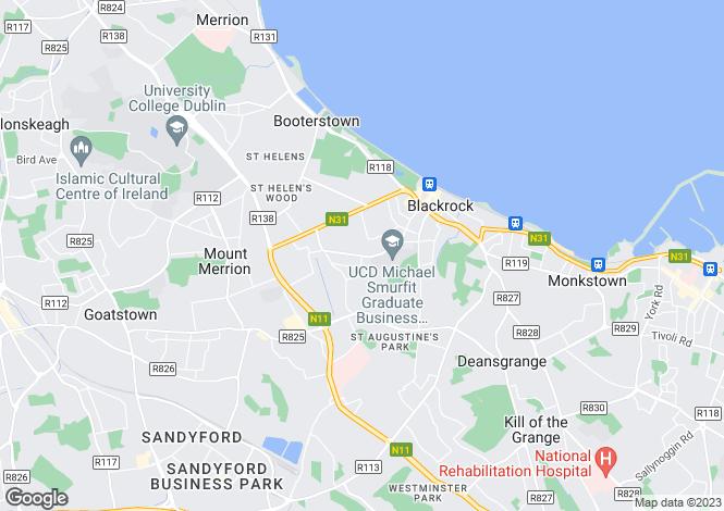 Map for Greenwood, Avoca Avenue, Blackrock, Co. Dublin