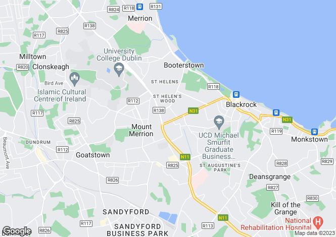 Map for 89 Merrion Park, South Hill Avenue, Blackrock, Co. Dublin
