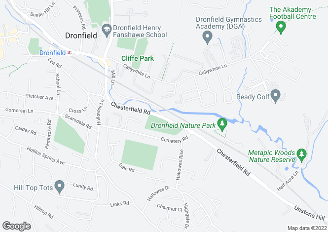 Map for 247, Chesterfield Road, Dronfield, Dronfield