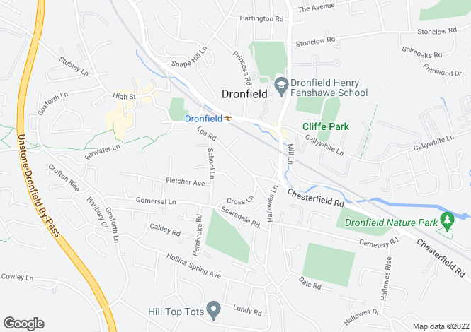 Map for Netherfield,55, Lea Road, Dronfield, Dronfield, Derbyshire, S18