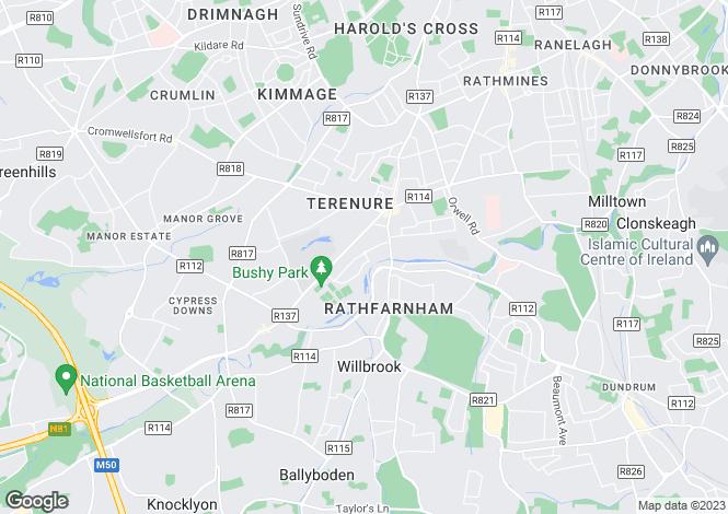 Map for 54 Rathdown Park, Terenure, Dublin 6W, D6W K653