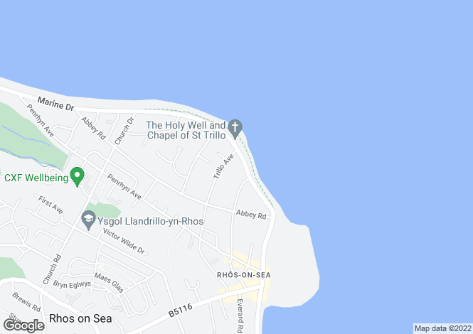Map for Marine Drive, Rhos on Sea, Colwyn Bay, Conwy, LL28