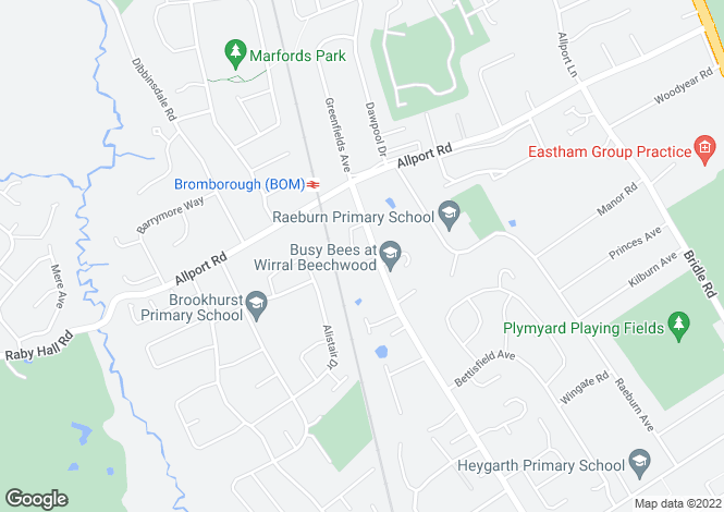 Map for Plymyard Avenue, Bromborough