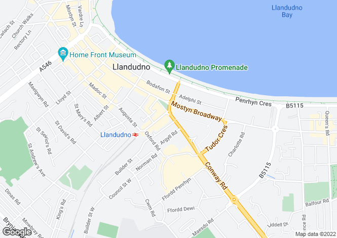 Map for Vaughan Street, Llandudno
