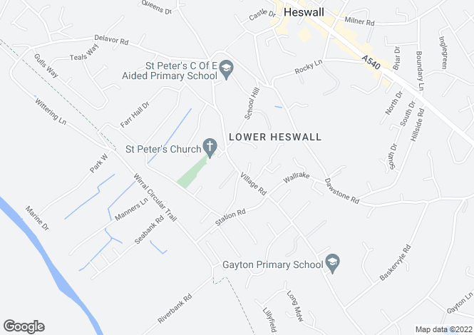 Map for Village Road, Lower Heswall, Wirral