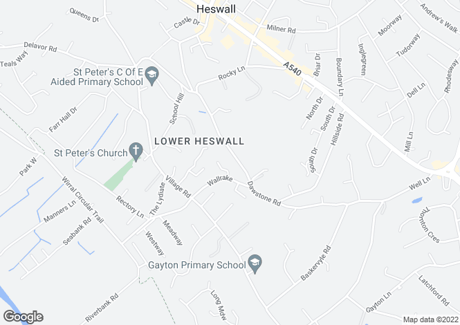 Map for Dawstone Road, Heswall