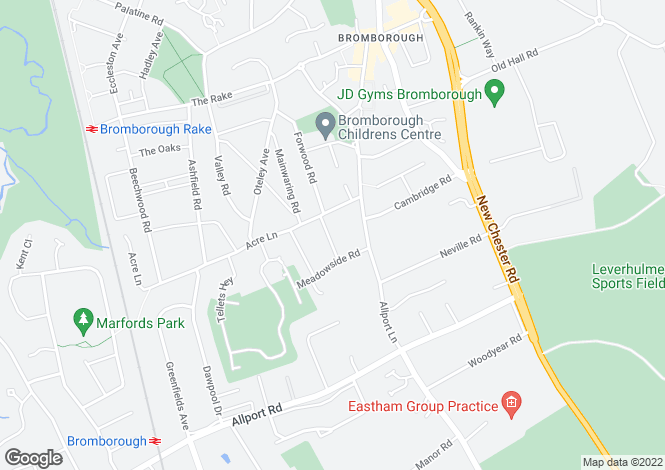 Map for Hawthorne Lane, Bromborough