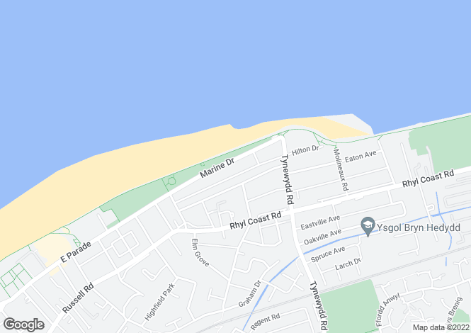 Map for Marine Drive, Rhyl, Denbighshire