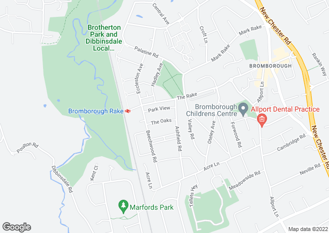 Map for Park View, Bromborough
