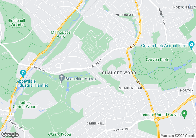 Map for Strelley Road, Beauchief, Sheffield
