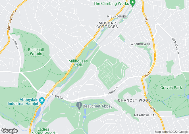 Map for 99, Hutcliffe Wood Road, Beauchief, Sheffield, South Yorkshire, S8