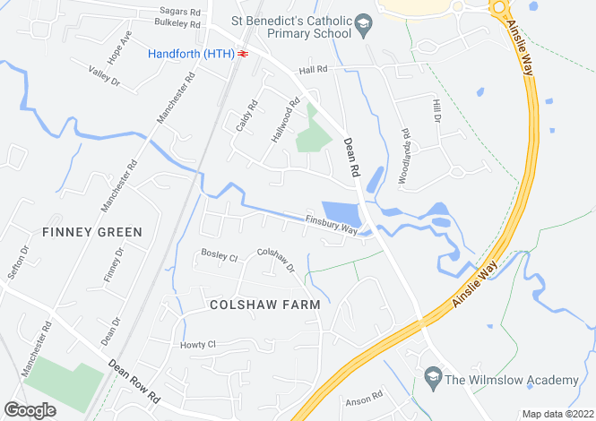 Map for Finsbury Way, Handforth, Wilmslow, Cheshire, SK9 3AQ