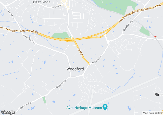 Map for Woodford Road, Woodford, Stockport, Cheshire