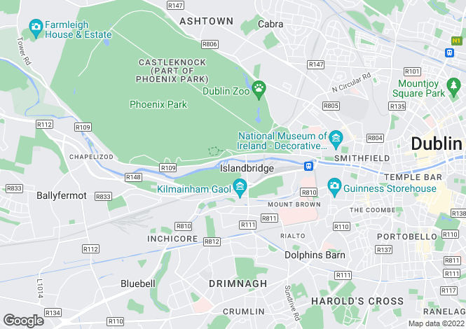Map for 27 Bellevue, Islandbridge, Dublin 8, D08 YY83