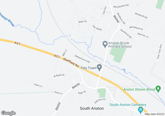 Map for Wilberforce Road, South Anston, Sheffield S25