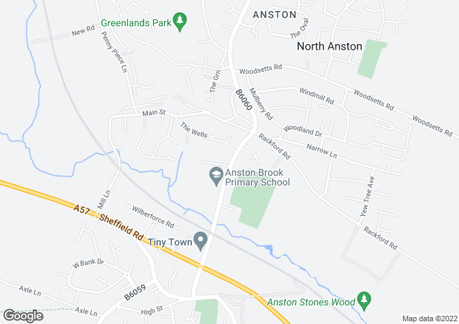 Map for Ryton Road, North Anston, Sheffield