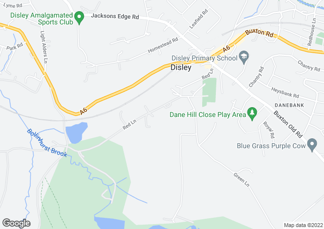 Map for RED LANE, DISLEY, STOCKPORT, SK12