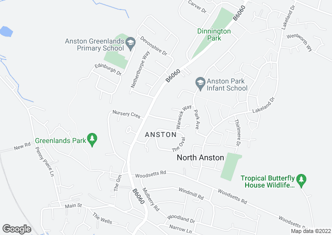 Map for Orchard Avenue, North Anston, Sheffield