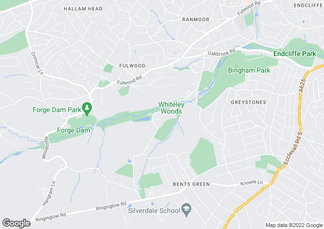 Map for Greenbank, 29, Whiteley Wood Road, Whiteley Woods, Sheffield, South Yorkshire, S11