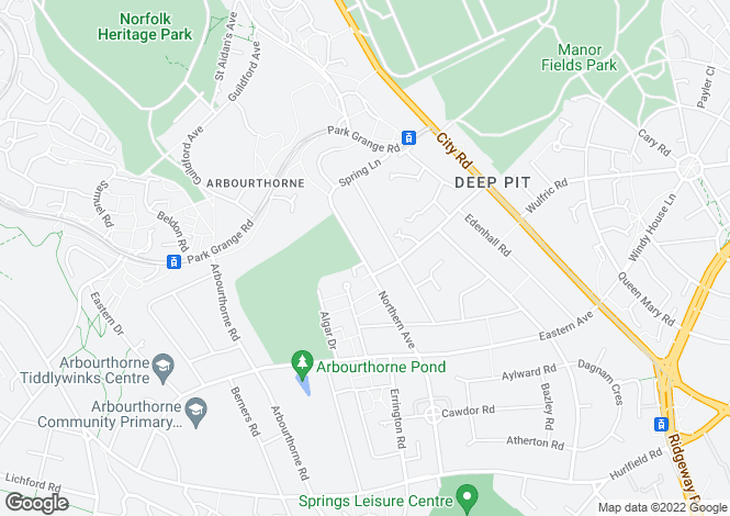 Map for Northern Avenue, Arbourthorne, Sheffield, S2