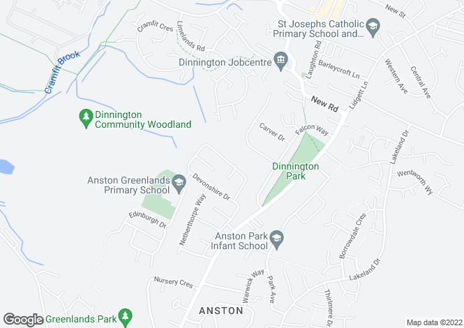 Map for Devonshire Drive, North Anston, Sheffield S25