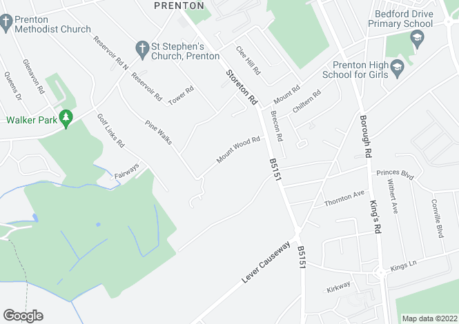 Map for Mountwood Road, Prenton, Wirral