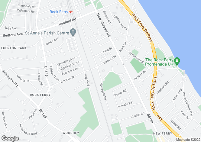 Map for Victoria Drive, Rock Ferry, Wirral