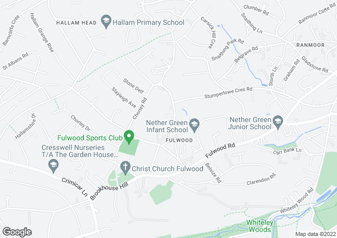 Map for Stumperlowe Hall, Fulwood, S10 3QS.