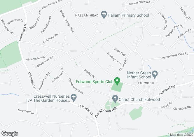 Map for Slayleigh Lane, Fulwood, Sheffield, S10 3RG