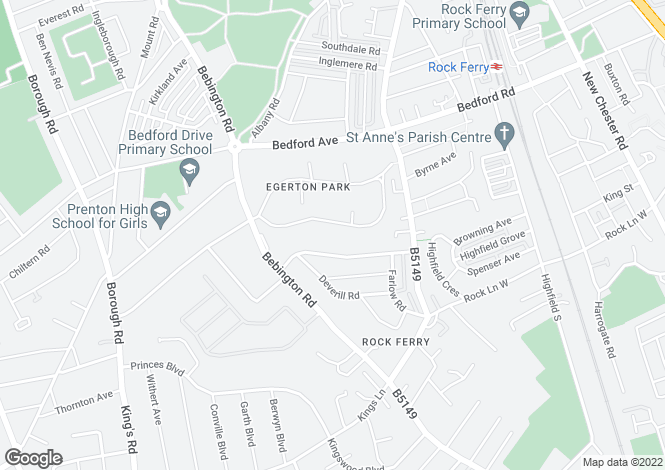 Map for Egerton Park, Rock Ferry