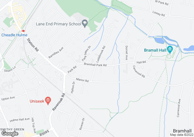 Map for Ladybrook Road, Bramhall, Cheshire
