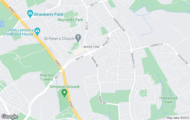 Map for Reeds Rains , Woolton
